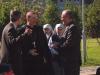 Iš kairės kun. Jacek Paszenda SDB parapijos klebonas, Apaštališkasis nuncijus vysk.  Luigi Bonazzi, Milano saleziečių vyresnysis kun. Agostino Sosio SDB