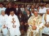 1996 m. rugpjūčio 12 d. Šventinamas bažnyčios kertinis akmuo. Iš kaires: kun. Pranas Gavėnas SDB, kun. Zdzisław Weder SDB, vyriausiasis rektorius kun. Edmundo Vecchi SDB, kun. Mečislovas Burba SDB