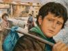 """Vieną šaltą rytmetį Jonas paliko namus ir išėjo ieškotis padėjėjo darbo. Jis norėjo mokytis, tačiau brolis Antanas nesutiko: """"Turi paimti į rankas kauptuką, kaip ir mes visi!"""""""