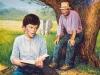 """Kai galėdavo, kol gyvuliai ganydavosi pievoje aplinkui, atsisėdęs medžių pavėsyje Jonas uoliai atsiversdavo savo knygas. Šeimininkas linguodavo galva: """"Kodėl tiek daug skaitai?"""" """"Noriu tapti kunigu!"""""""