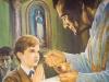 """Domininkui Šv. Komunija buvo svarbiausias dienos įvykis. Savo Pirmosios Komunijos dieną jaunuolis didelėmis raidėmis užrašė tokį įsipareigojimą: """"Mano draugai bus Jėzus ir Marija."""""""
