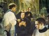 1875 m. kun. Bosko įteikė Nukryžiuotąjį pirmiesiems dešimčiai saleziečių, kurie iškeliavo į misiją Pietų Amerikoje. Jie išvyko būti naujais kunigais Bosko kitose pasaulio dalyse.